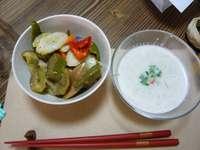 ゴボウのポタージュ、茹で野菜のマリネ